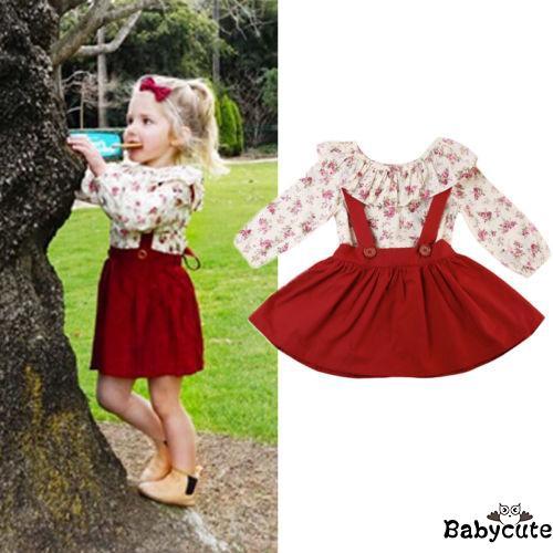 Set áo thun ngắn tay in hoa + Chân váy xòe xinh xắn cho bé gái