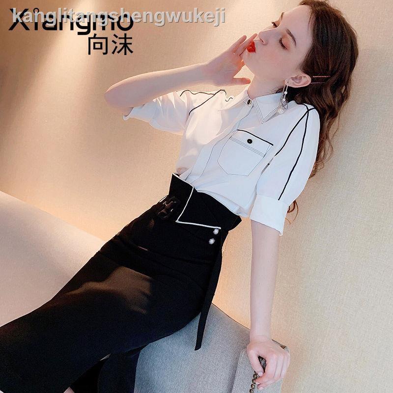 Bộ Áo Sơ Mi Voan + Chân Váy Xinh Xắn Theo Phong Cách Mùa Xuân 2020