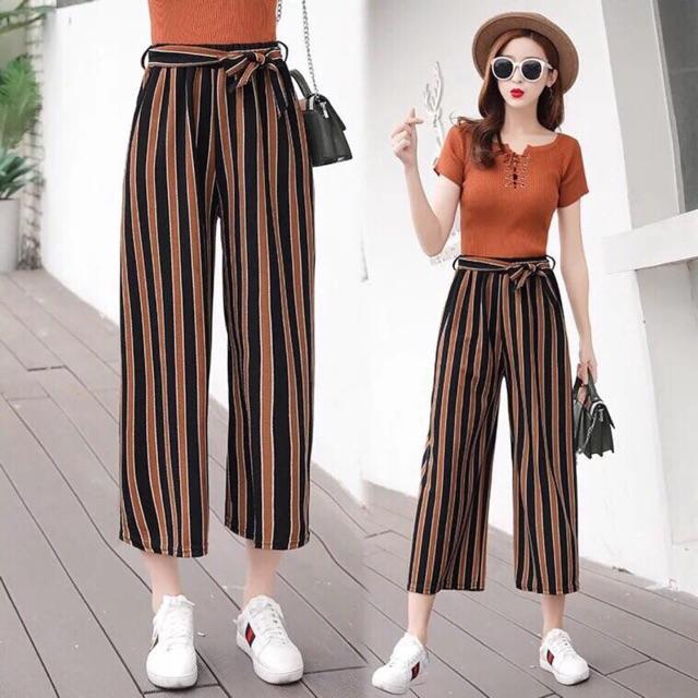 Hot hit mùa hè nha quần kẻ ống rộng chất cát hàn mặc thoải mái nhẹ nhàng cho ngày hè dể mix với áo thun trang phục dạo