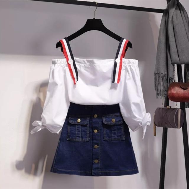 Set áo bẹt vai và chân váy Jeans