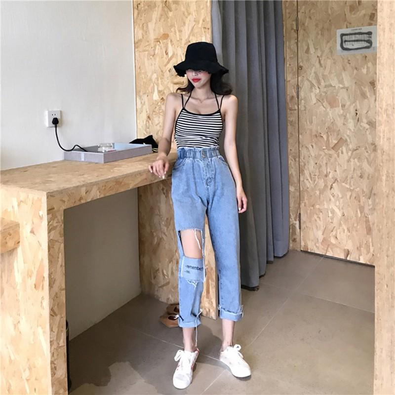 Set Áo Hai Dây Kẻ Sọc Và Quần Jeans Lưng Cao Phong Cách Hong Kong Cho Nữ