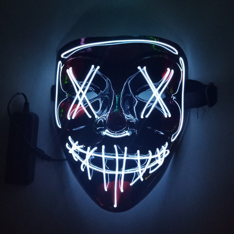 Hình ảnh ℗V luminous mask el seam eye mouth fork grisly death trill led Halloween party props
