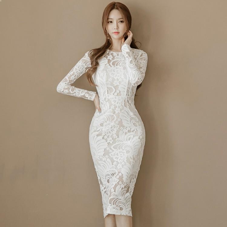 [Order] Váy đầm ôm body cuao ulzzang trắng ren V102075