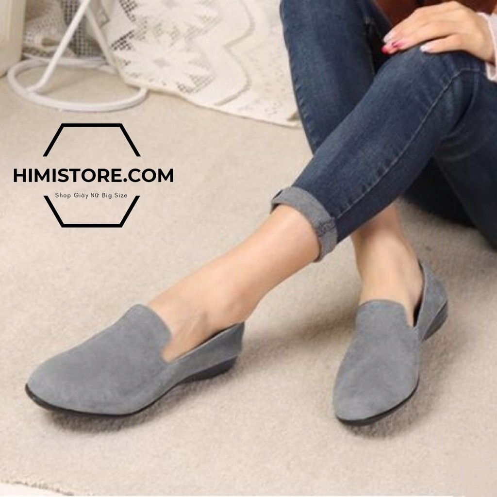 [CÓ SẴN] Giày búp bê big size giày mọi công sở màu xám THƯƠNG HIỆU HIMISTORE