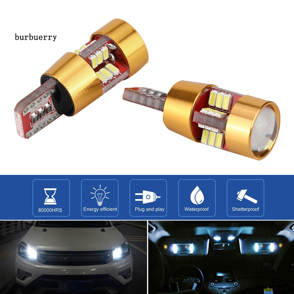 BUBU 2Pcs T10 27SMD Decoding LED Car Width License Plate Light Signal Bulb Lamps
