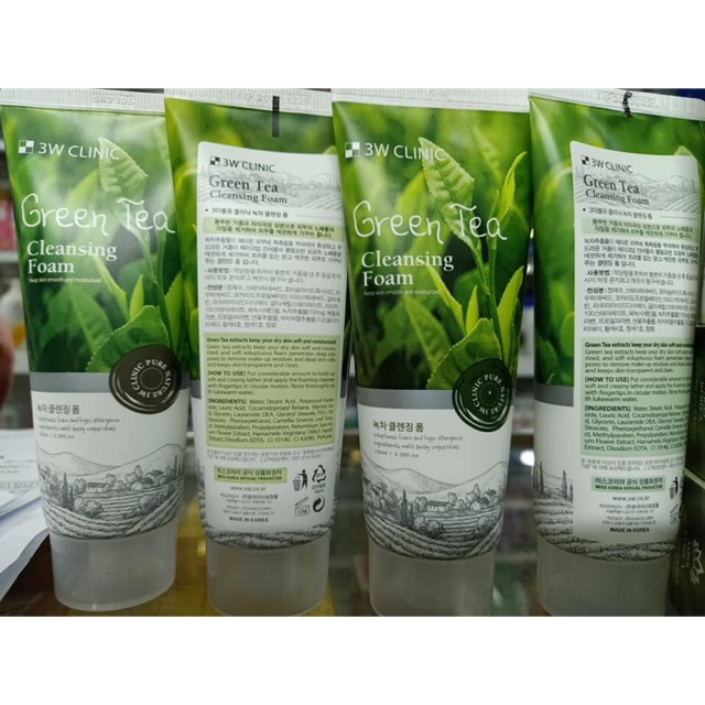 3W Clinic - Green Tea Cleansing Foam Hàn Quốc