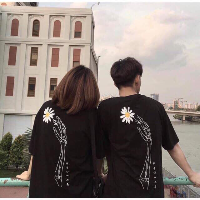 áo thun nam nữ tay lỡ in hình hoa cúc cực đẹp