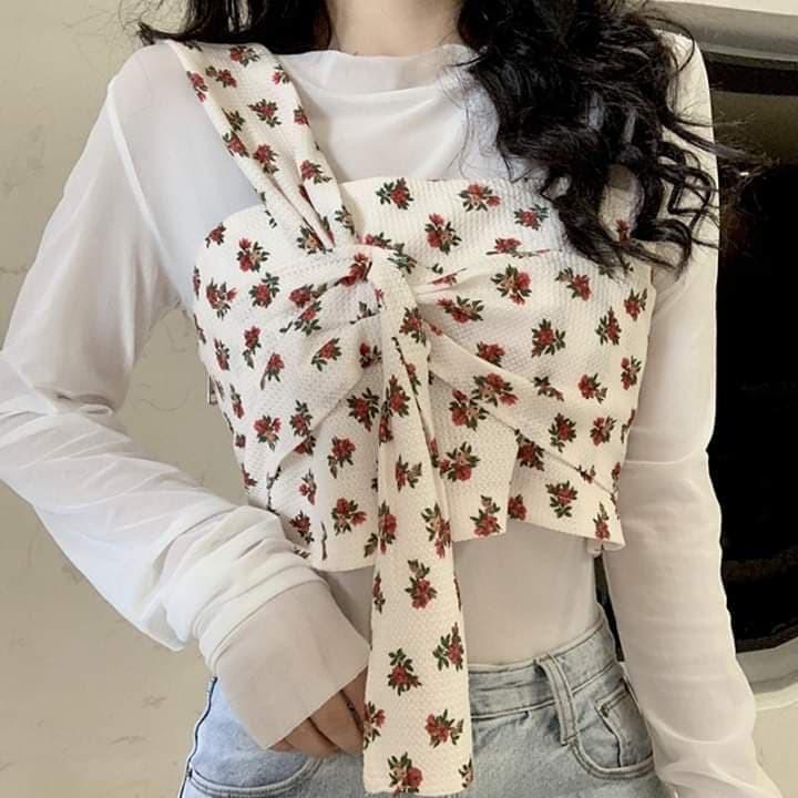 (Hàng order) Áo kiểu hoa nhí đỏ với áo thun đơn tay dài Style Ulzzang