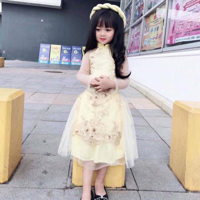 Áo dài cách tân kèm mấn cho bé hàng đẹp