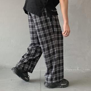 and point personalized pants students' Plaid nine Kong pants fashion Men's Hong pants men's leisure men's youth style literature art
