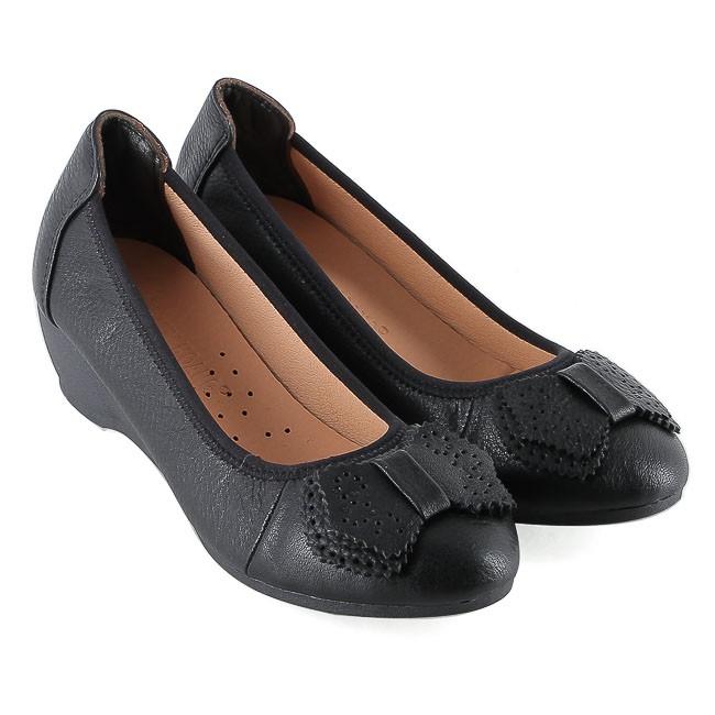 Giày nữ Huy Hoàng da bò 3 phân màu đen HP7939