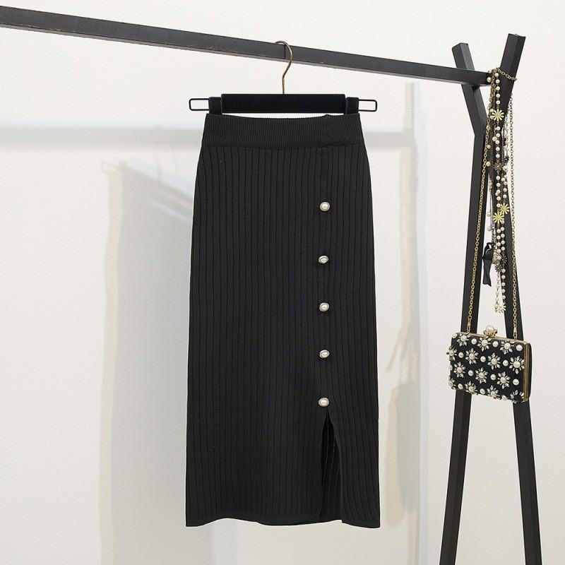 Chân váy suông dài dáng ôm lưng cao phối hàng ngọc trai