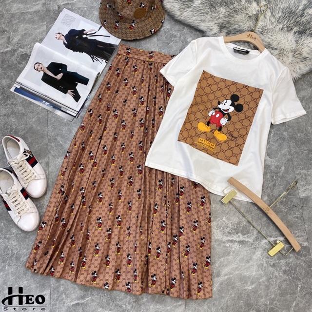 Set áo pull mickey + chân váy xếp li