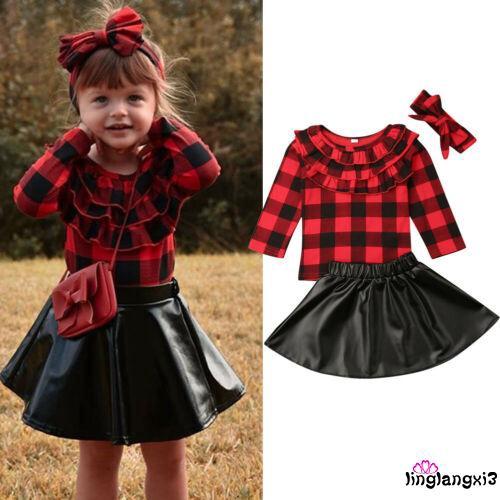 Set áo sơ mi ngắn tay + Chân váy xòe + băng đô dễ thương cho bé gái