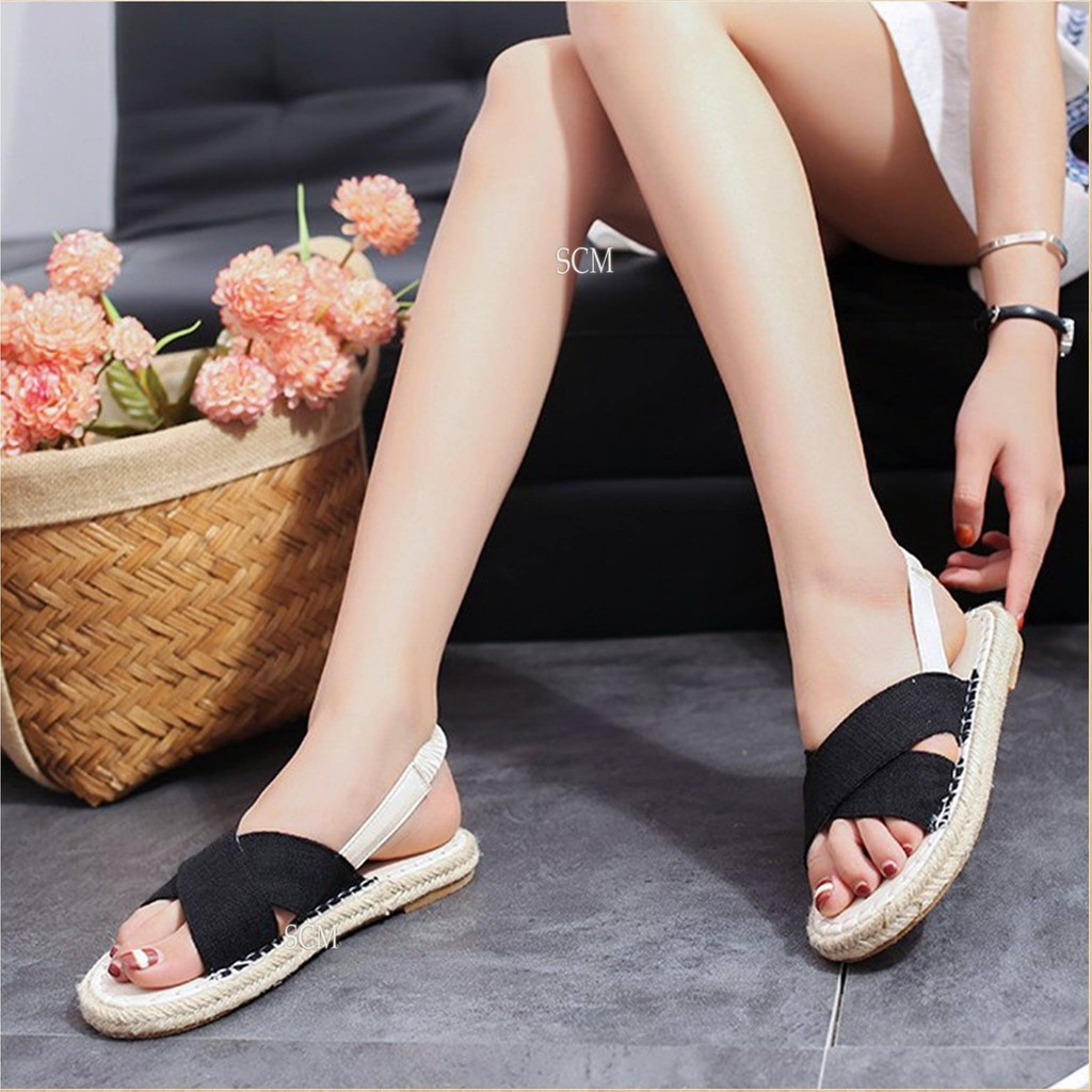 SALE - Giày sandal viền cối bảng chéo - xanh, kem