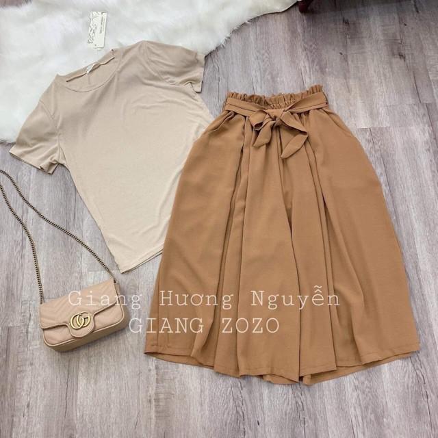 Sét áo thun + quần suông buộc nơ hàng cao cấp đẹp