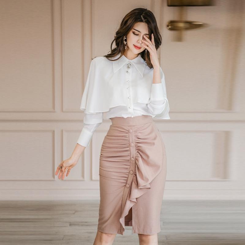 Bộ Áo Voan + Chân Váy Xếp Li Xinh Xắn Dành Cho Nữ