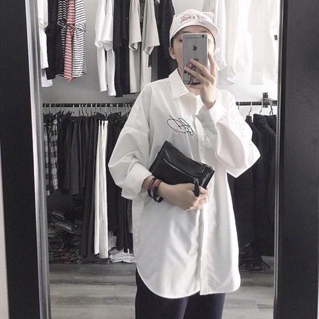 Sơmi thêu( trắng, đen) kèm hình thật