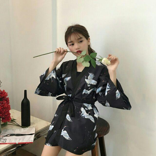 ORDER - Áo Haori Kimono họa tiêt hạc xanh màu tím than có ảnh thật