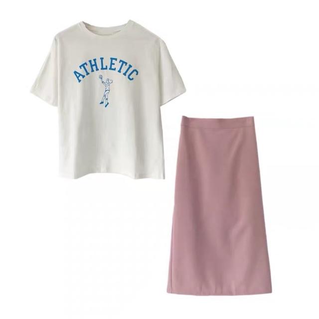 Set Chân váy hồng và áo Trắng cho nữ 2000