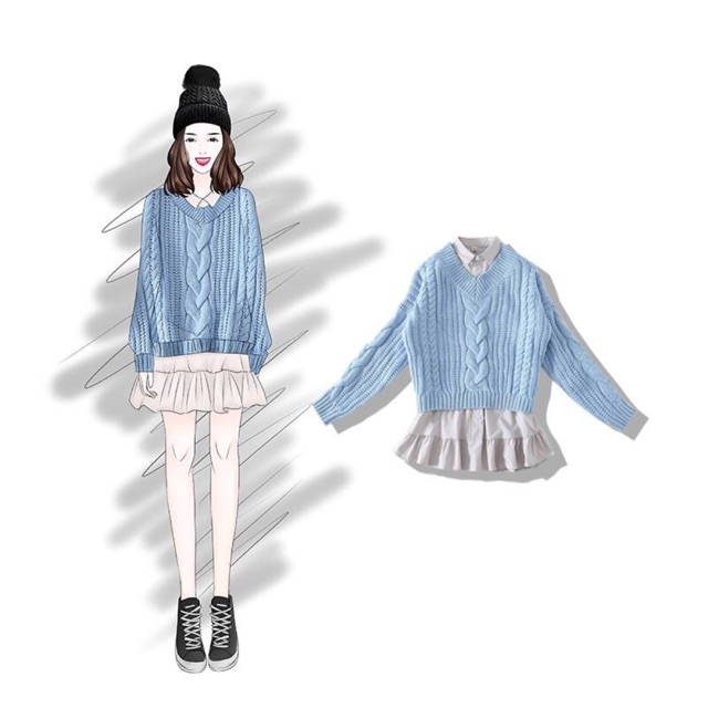 Set Ulzzang áo len và đầm