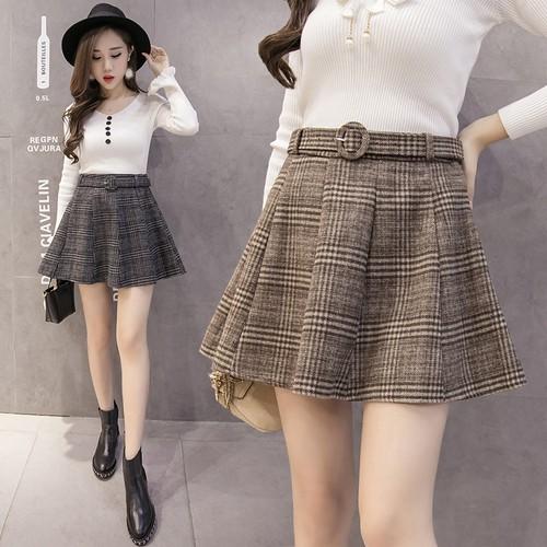 Chân Váy Len Dáng Chữ A Lưng Cao Phong Cách Hàn Quốc Cho Nữ