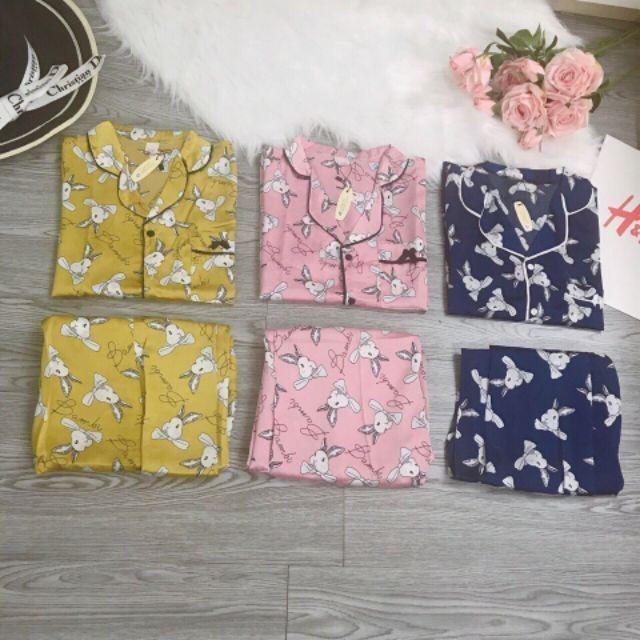 [shop] FREESHIP ĐƠN 99K_Bộ pizama lụa áo cộc quần dài họa tiết chú thỏ loại tốt