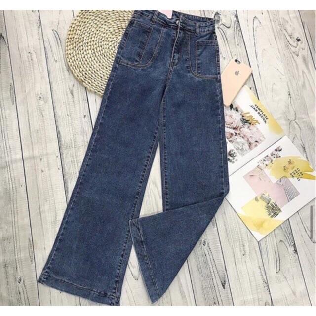 Quần jeans loe xanh mới