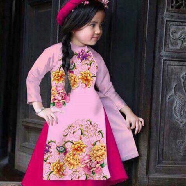 Combo 10 bộ áo dài cách tân bé gái