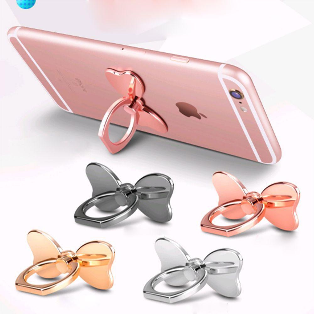 Nhẫn ngón tay giữ điện thoại, hình nơ, quay 360 độ