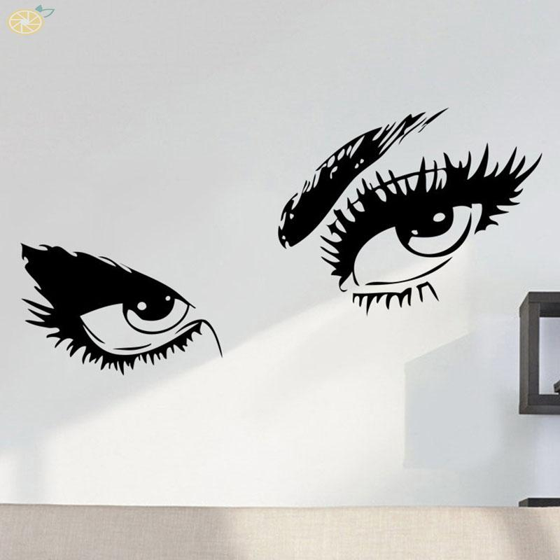 Wall Sticker Charming eyes PVC Black Waterproof Removable Home Bedroom Living room Self adhesive Creative Display