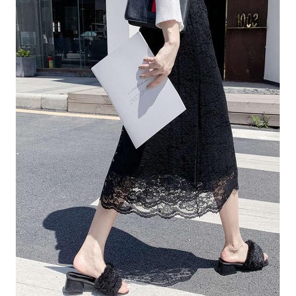 Chân Váy Ren Chữ A Lưng Cao Phối Ren Thời Trang 2020 Cho Nữ