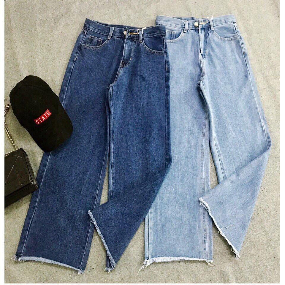 quần jean ống loe xanh dam