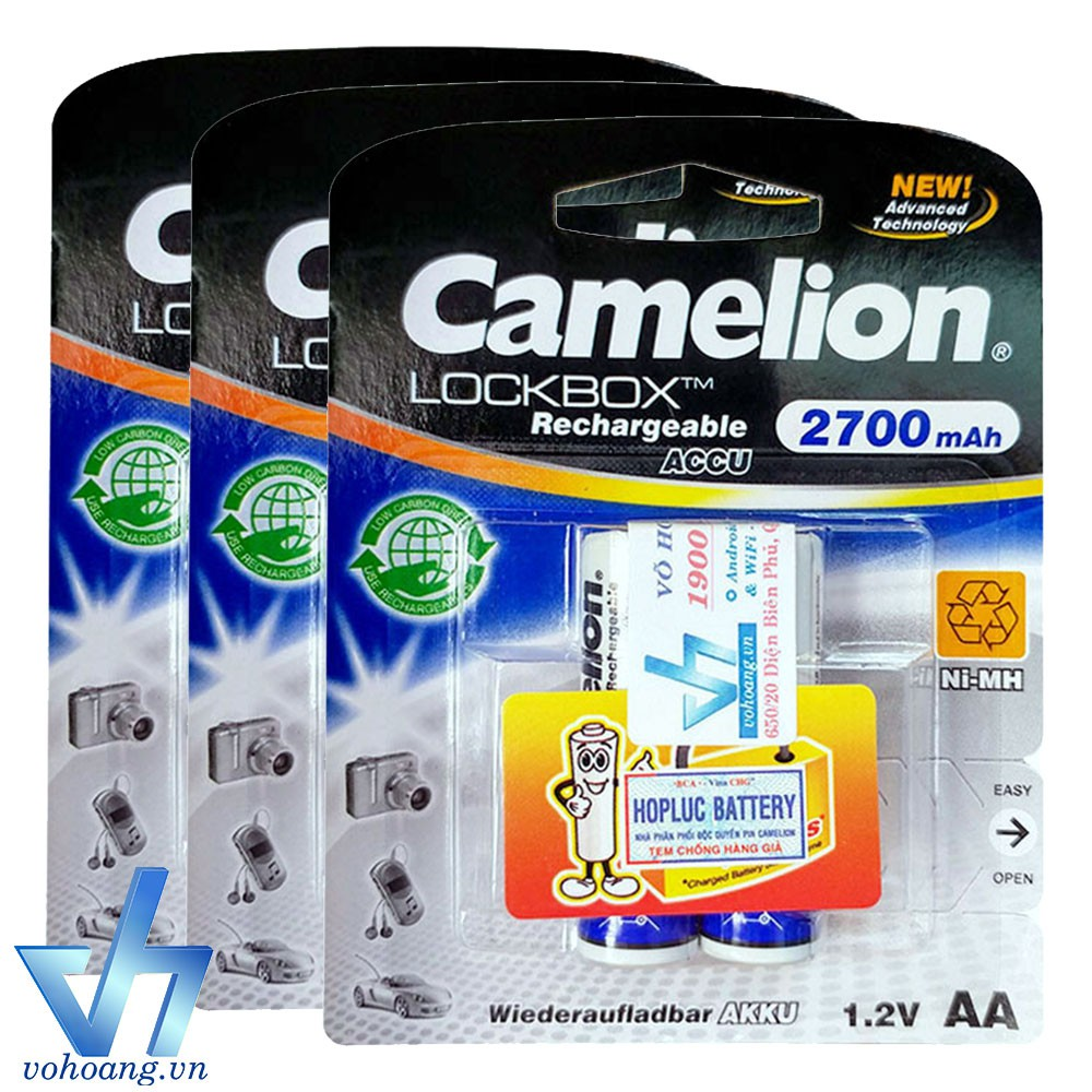 Bộ 6 pin sạc AA Camelion 2700mAh (Tem Hợp Lực)