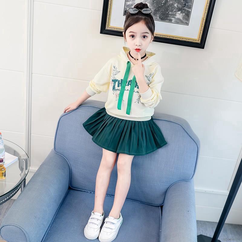 Bộ Áo Hoodie Cotton Dài Tay + Chân Váy Ngắn Cho Bé Gái
