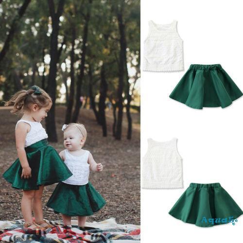 Set áo thun không tay phối chân váy xòe dễ thương cho bé gái