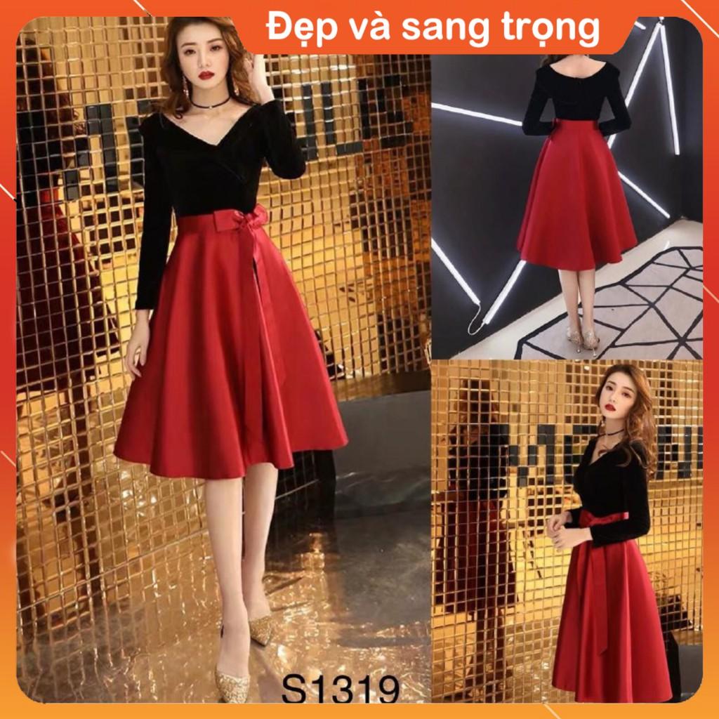 [Đầm thiết kế] Set áo đen trễ vai + chân váy đỏ thắt nơ S1319 Váy đẹp cao cấp made in Việt Nam
