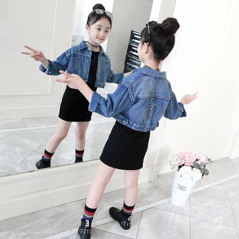 set áo khoác denim+chân váy cho bé gái