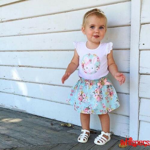 Set áo cộc tay và chân váy hoa dễ thương cho bé gái