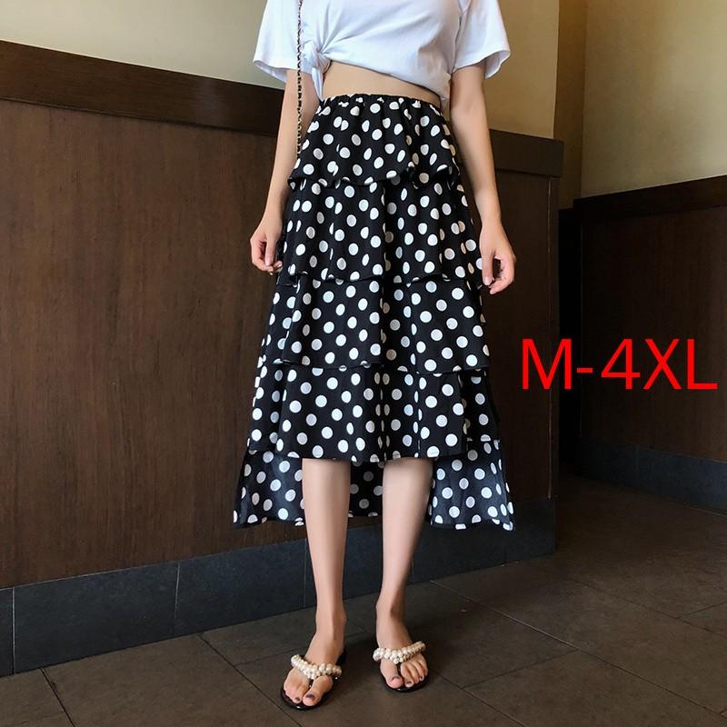 Chân Váy Chữ A Họa Tiết Chấm Bi Phong Cách Retro Có Size M-4Xl