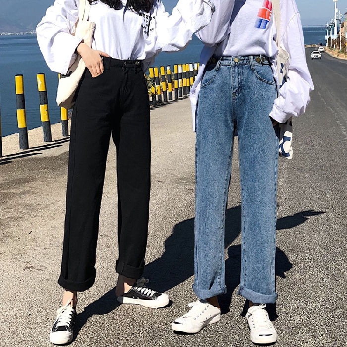 Quần Jeans Ống Rộng Lưng Cao Thời Trang Dành Cho Nữ