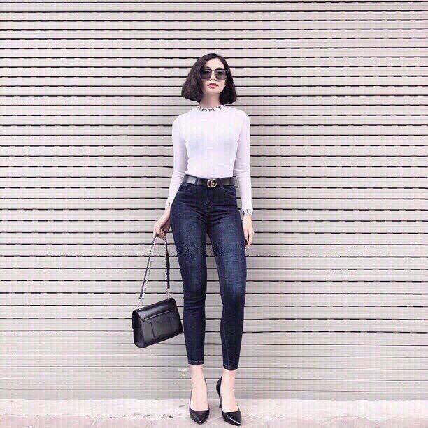 Quần Jeans Nữ Xước Wax HM tôn dáng vải đẹp