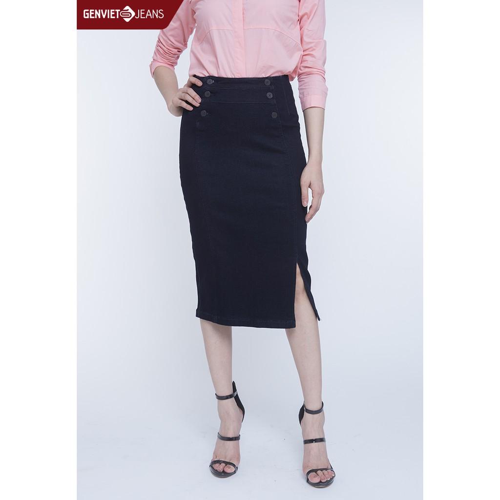 Chân váy Jeans trên gối Nữ DJ321J797 GENVIET