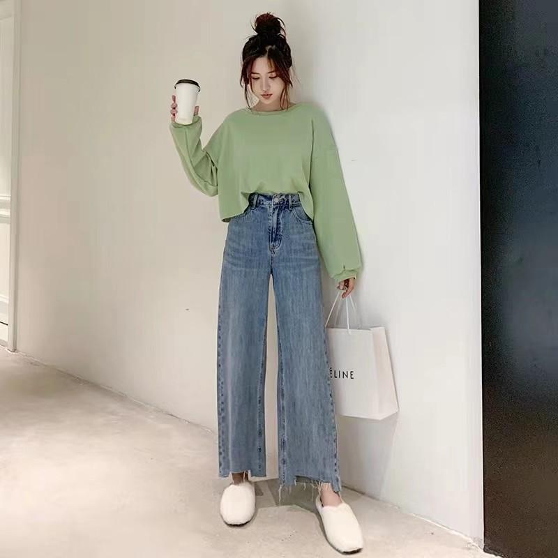 Quần Jeans Ống Rộng Cắt Gấu Vuông SP027606/ Hình Tự Chụp