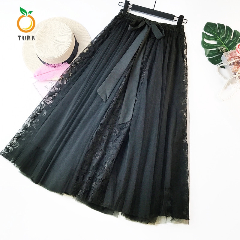 Chân váy lưới phối ren phong cách thanh lịch dành cho nữ