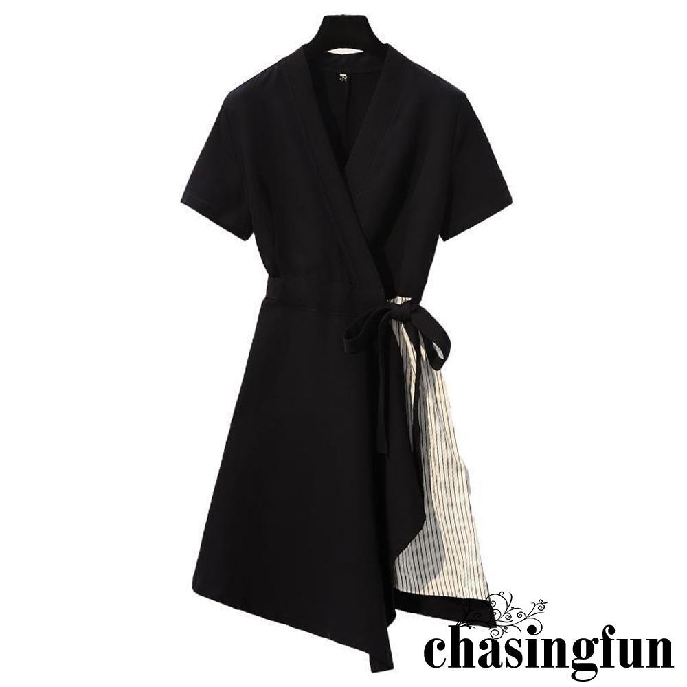 Áo đầm kiểu cổ chữ V sâu họa tiết sọc có đai thắt lưng co giãn thời trang dành cho nữ