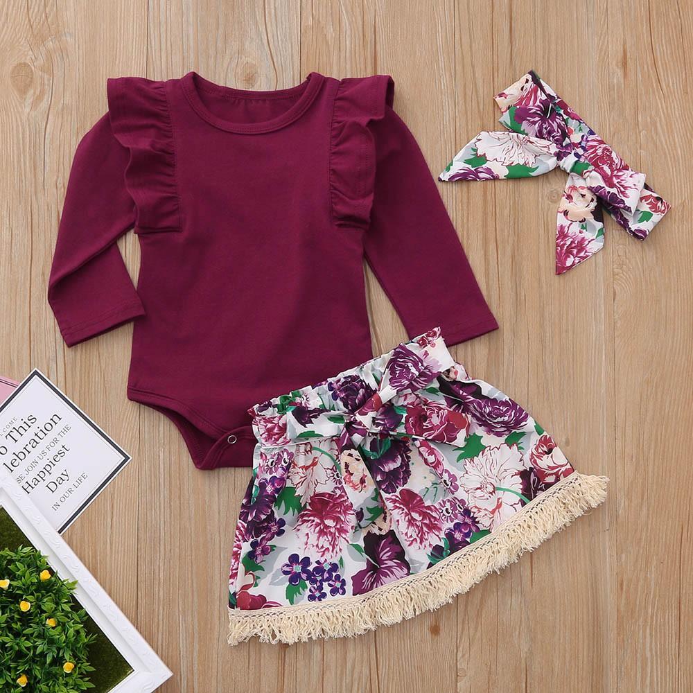 Bộ jumpsuit màu trơn + Chân váy hoa + băng buộc đầu cho bé gái