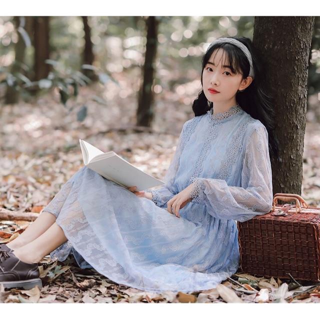 Đầm tiểu thư vintage bánh bèo ulzzang mori girl tay phối