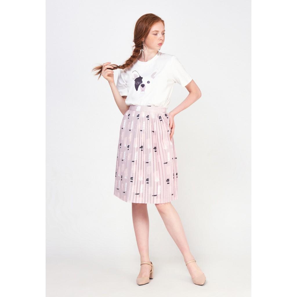 MARC FASHION - Váy Dập Li Midi Hoạ Tiết Loan Màu Ss18