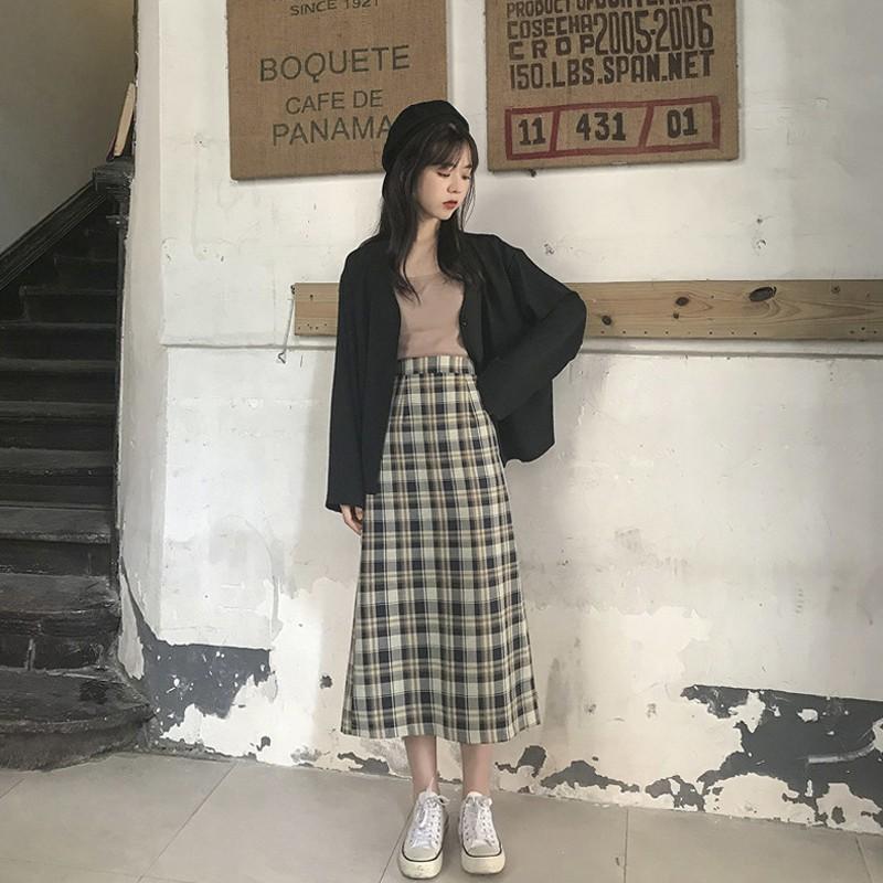 (ORDER) Chân váy dài kẻ xẻ sau phong cách Hàn Quốc(kèm ảnh thật)